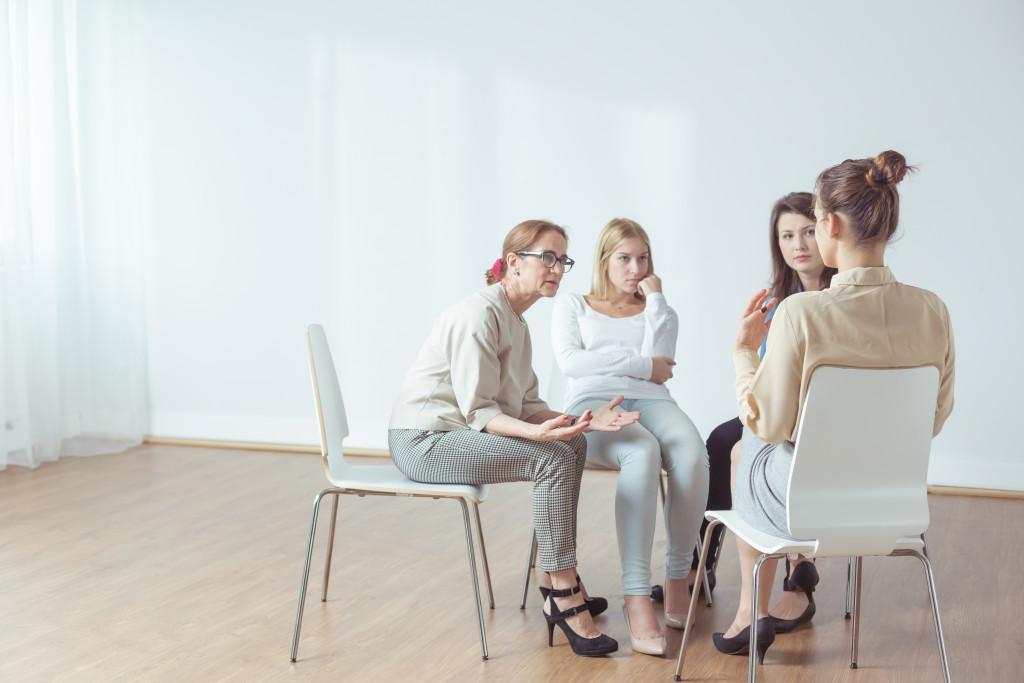 women gathered around